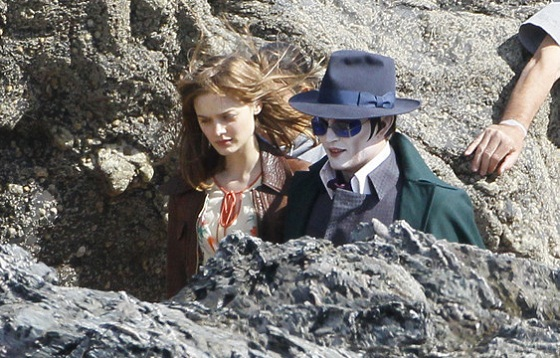 Johnny DEpp en el rodaje de Dark Shadows