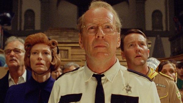 Bill Murray, Tilda Swinton, Bruce Willis y Edward Norton en Moonrise Kingdom