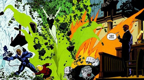 Mr. Freeze, Hiedra Venenosa, Solomon Grundy y Dos Caras contra Batman en Victoria Oscura