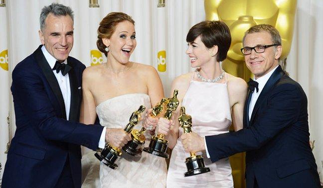 Daniel Day-Lewis, Jennifer Lawrence, Anne Hathaway y Christoph Waltz