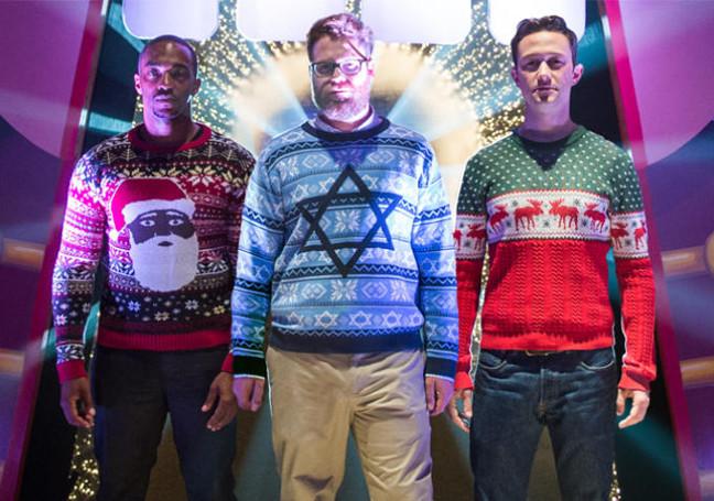 Anthony Mackie, Seth Rogen y Joseph Gordon Levitt en Los tres reyes malos.