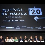 El equipo durante la rueda de prensa en el Festival de Málaga