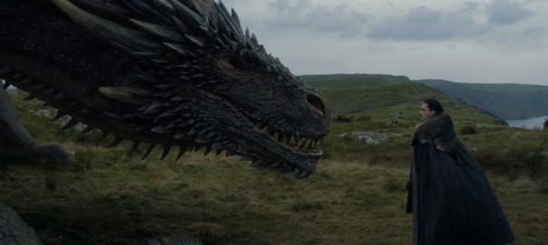 Drogón y Jon Snow en Guardaoriente, el quinto capítulo de la séptima temporada de Juego de Tronos