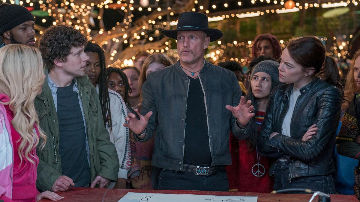 Jesse Eisenberg, Woody Harrelson y Emma Stone